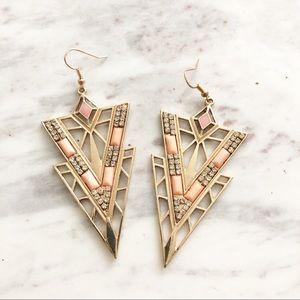 Jewelry - Gold Diamond Pink Triangle Statement Earrings
